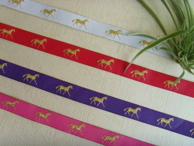 polyester damask horse ribbon