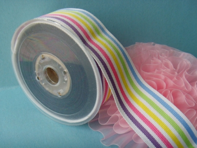 polyester rainbow striped grosgrain ribbons