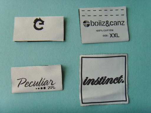 White background brand woven label