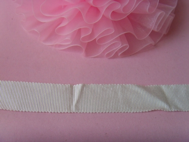 polyester white petersham ribbon in 25mm